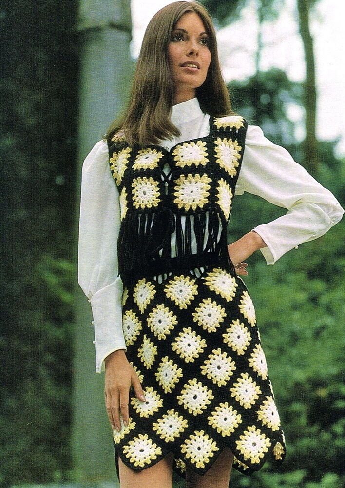 Vintage 1960s Crochet Pattern For Fab Granny Square Mod