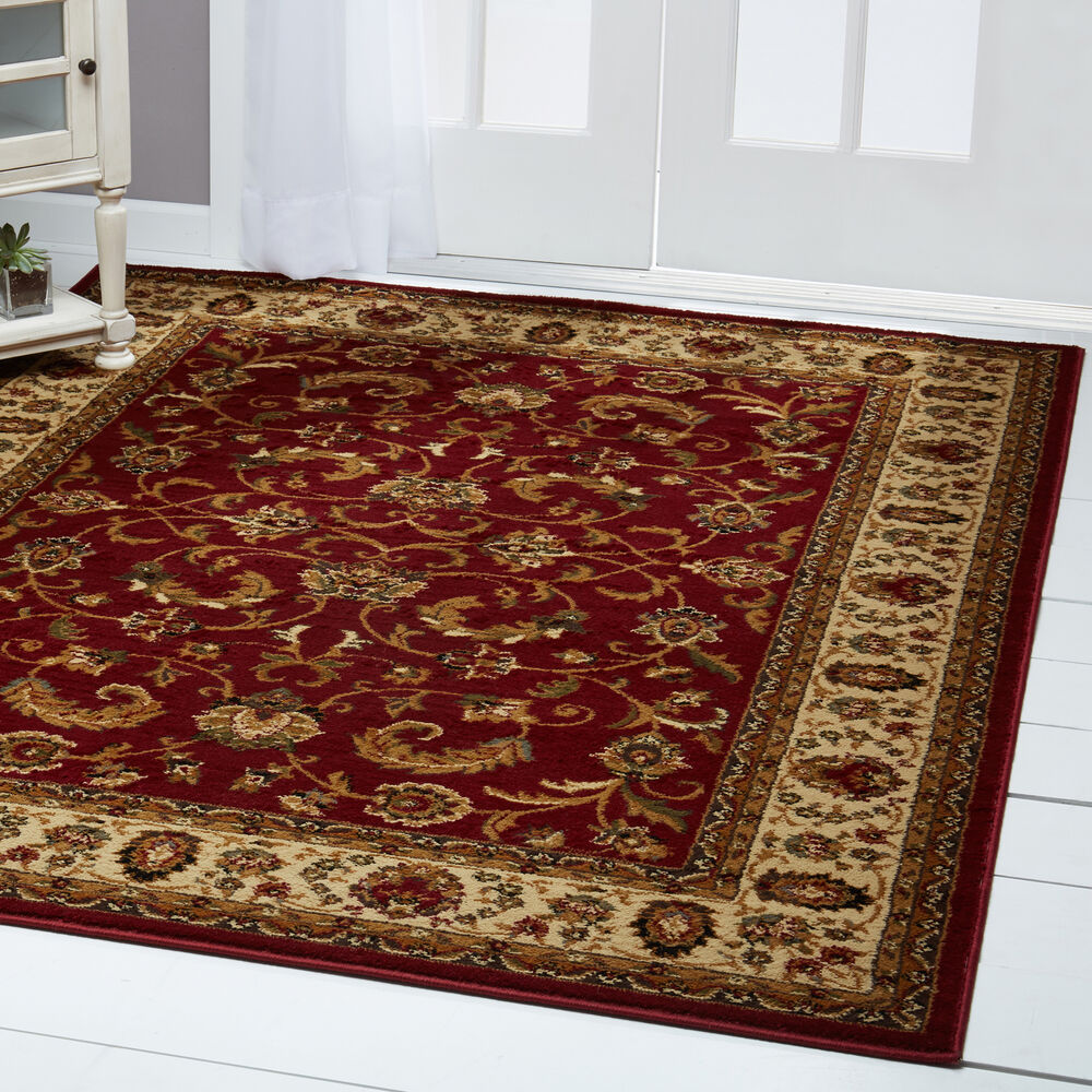 Red Burgundy Ivory Bordered Traditional Area Rug Persian