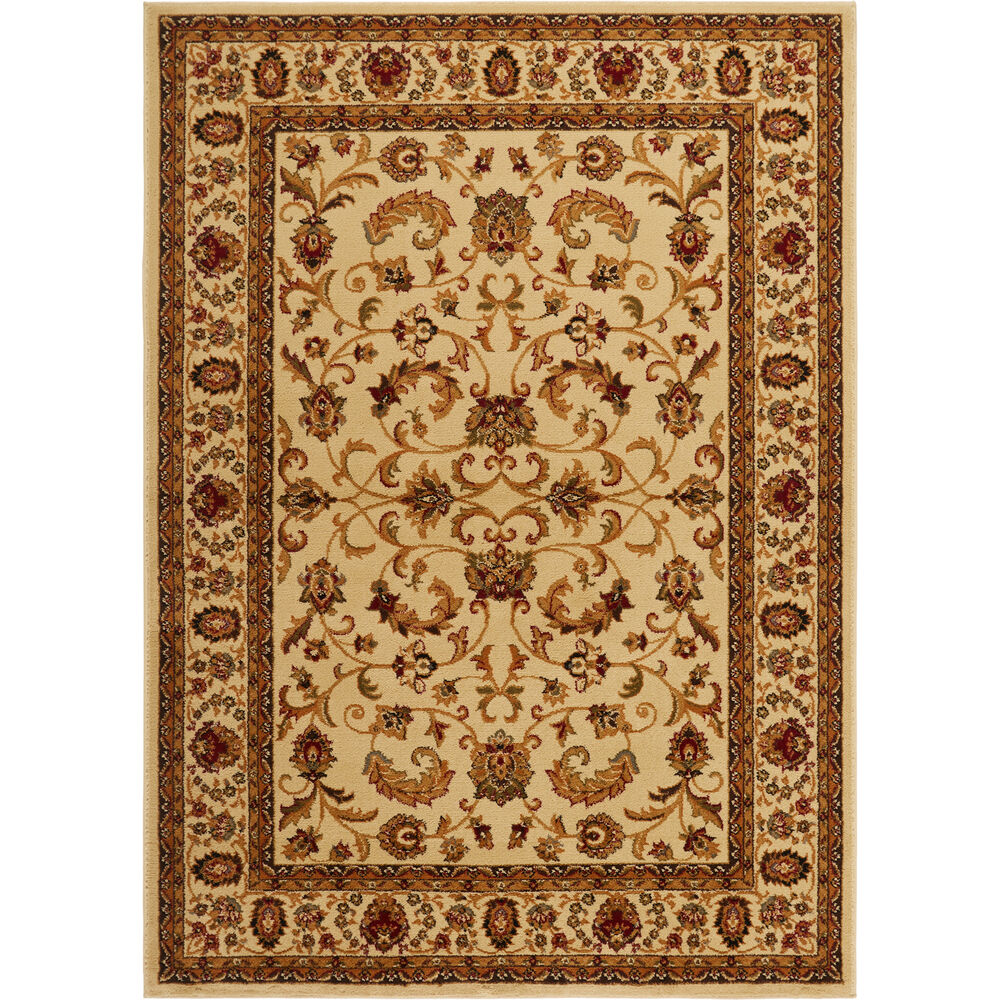 Chinese Carpets And Rugs: CREAM IVORY BEIGE BORDERED TRADITIONAL AREA RUG PERSIAN
