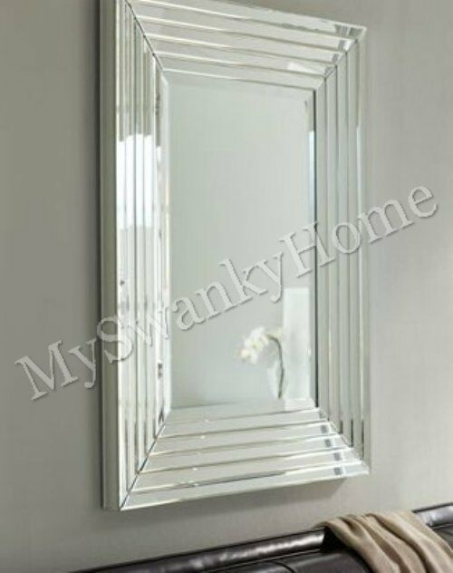 Large layered designer wall mirror modern glass frame for Large glass walls