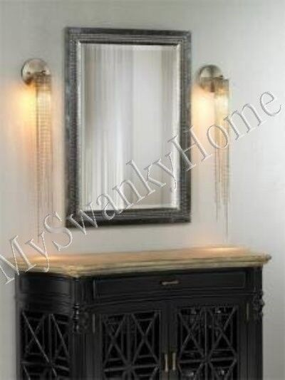 Contemporary large silver leaf wall mirror vanity mantle for Large silver modern mirror