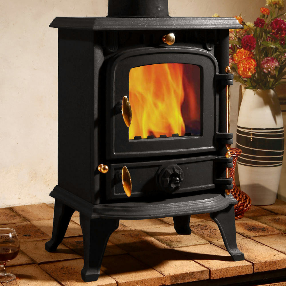 5kw multifuel stove cast iron log woodburner high for Small efficient wood stoves