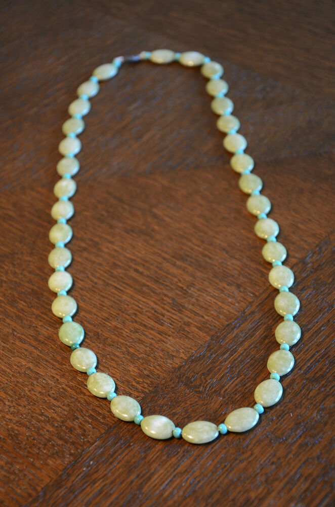 Vintage Jewelry Necklace Bead Costume Natural Stone Green Blue Turquoise And Amp Ebay