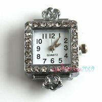 Free Postage Watch 2pcs Silver Tone Rhinestone Quartz Watch Faces 151451