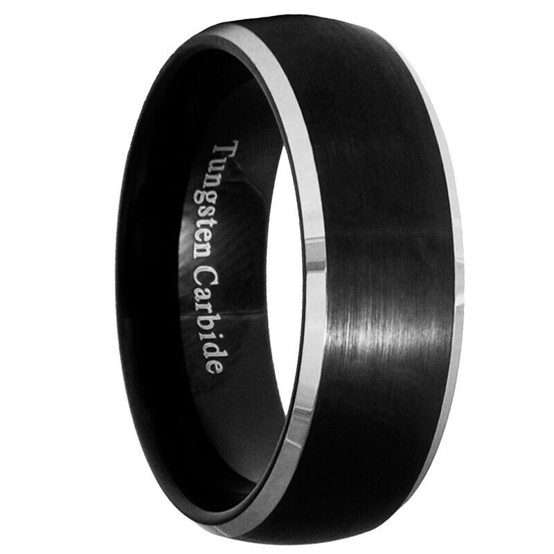 8mm black brushed tungsten carbide men women ring wedding band size 7 15 ebay. Black Bedroom Furniture Sets. Home Design Ideas