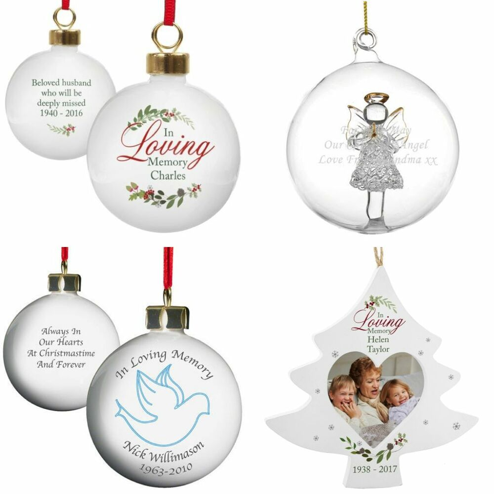 PERSONALISED IN LOVING MEMORY CHRISTMAS REMEMBRANCE TREE BAUBLE ...