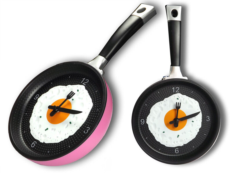 Funky Pink Frying Pan With Fried Egg Wall Clock/ Kitchen