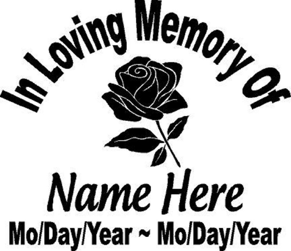 in loving memory of flower rose decal window sticker