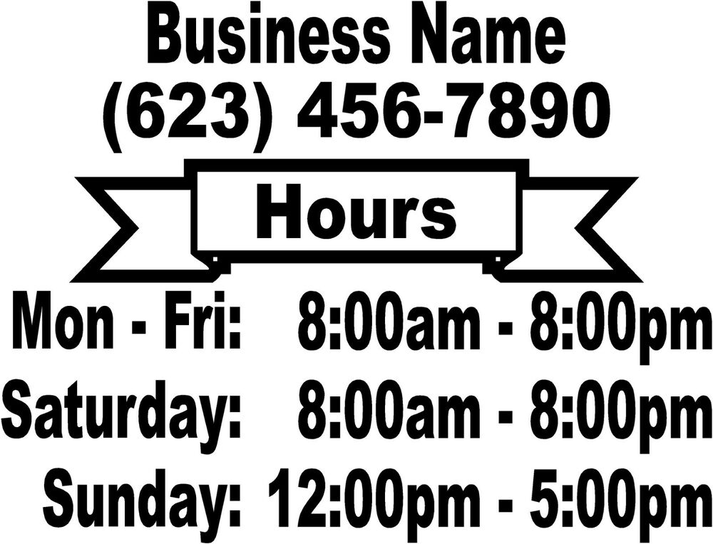 Business Store Hours Vinyl Window Decal Custom 8 75 X11 5