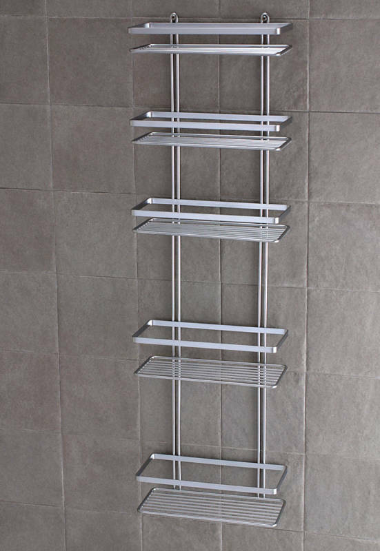Satina Chrome 5 Tier Large Shower Caddy Shelf Bathroom