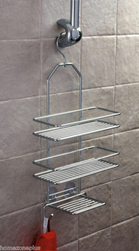 satina chrome hook hanging shelf shower caddy cubicle tidy basket rack ebay. Black Bedroom Furniture Sets. Home Design Ideas