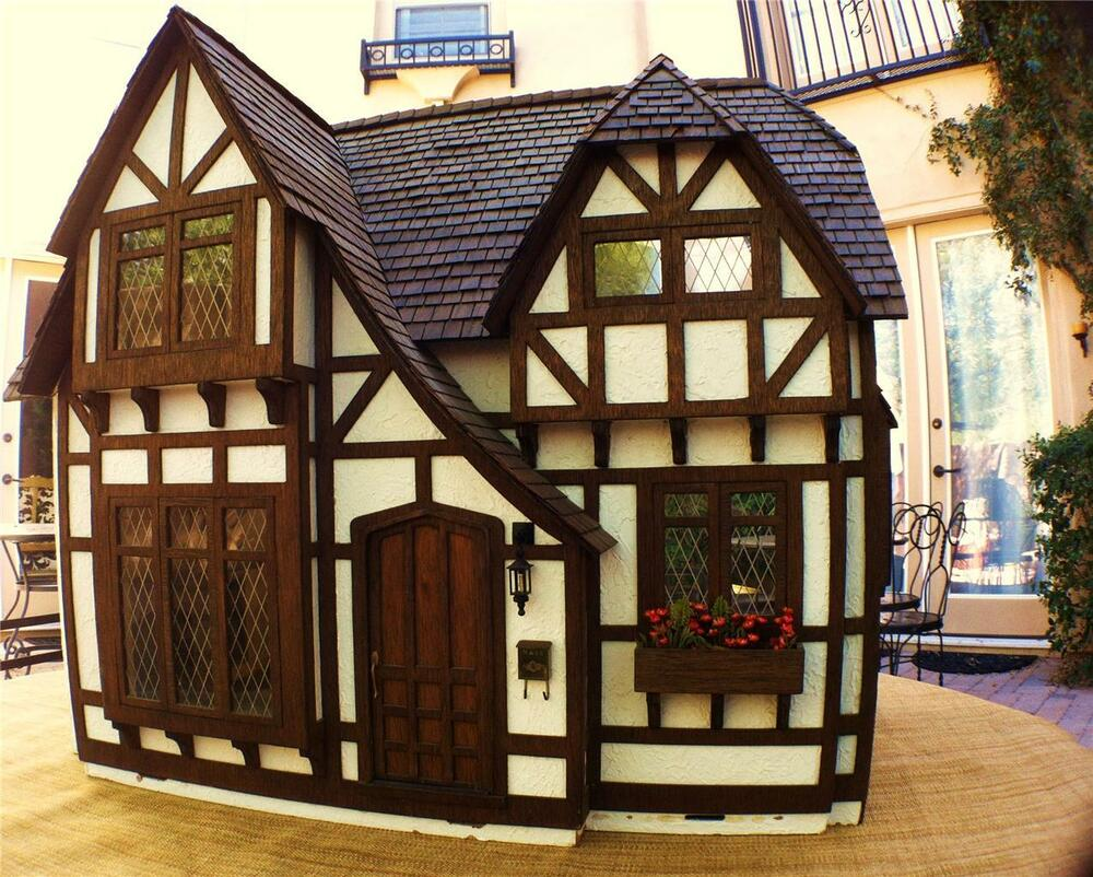 Charming Handcrafted Miniature Dollhouse Tudor Cottage 2