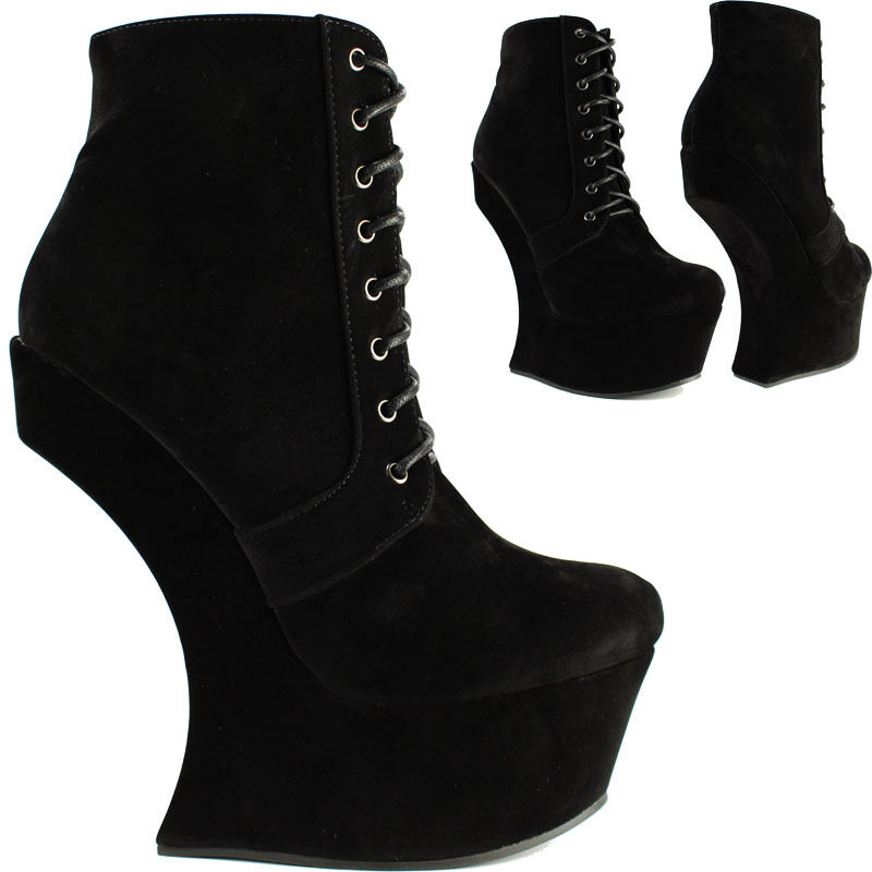 womens black high no heel less lace up