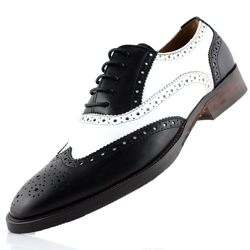 genuine two tone leather oxford wingtip formal dress