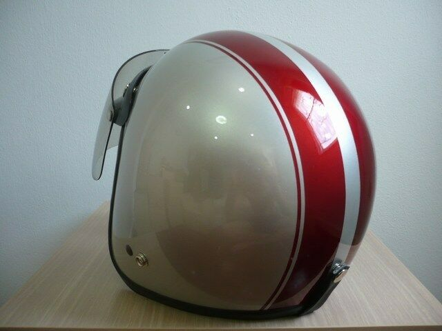 vintage motorcycle vespa scooter helmet bronze red open. Black Bedroom Furniture Sets. Home Design Ideas