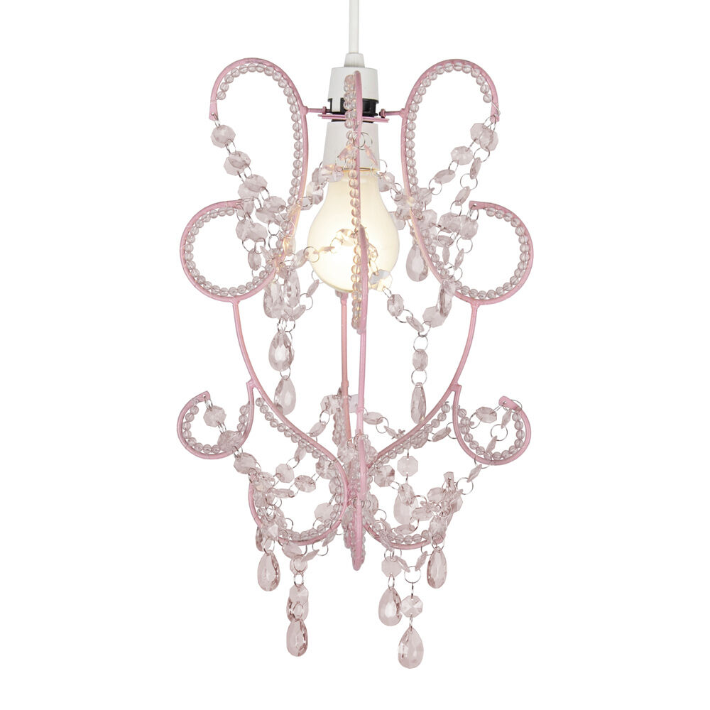 girls bedroom nursery pink shabby chic ceiling light shade chandelier lampshade ebay. Black Bedroom Furniture Sets. Home Design Ideas