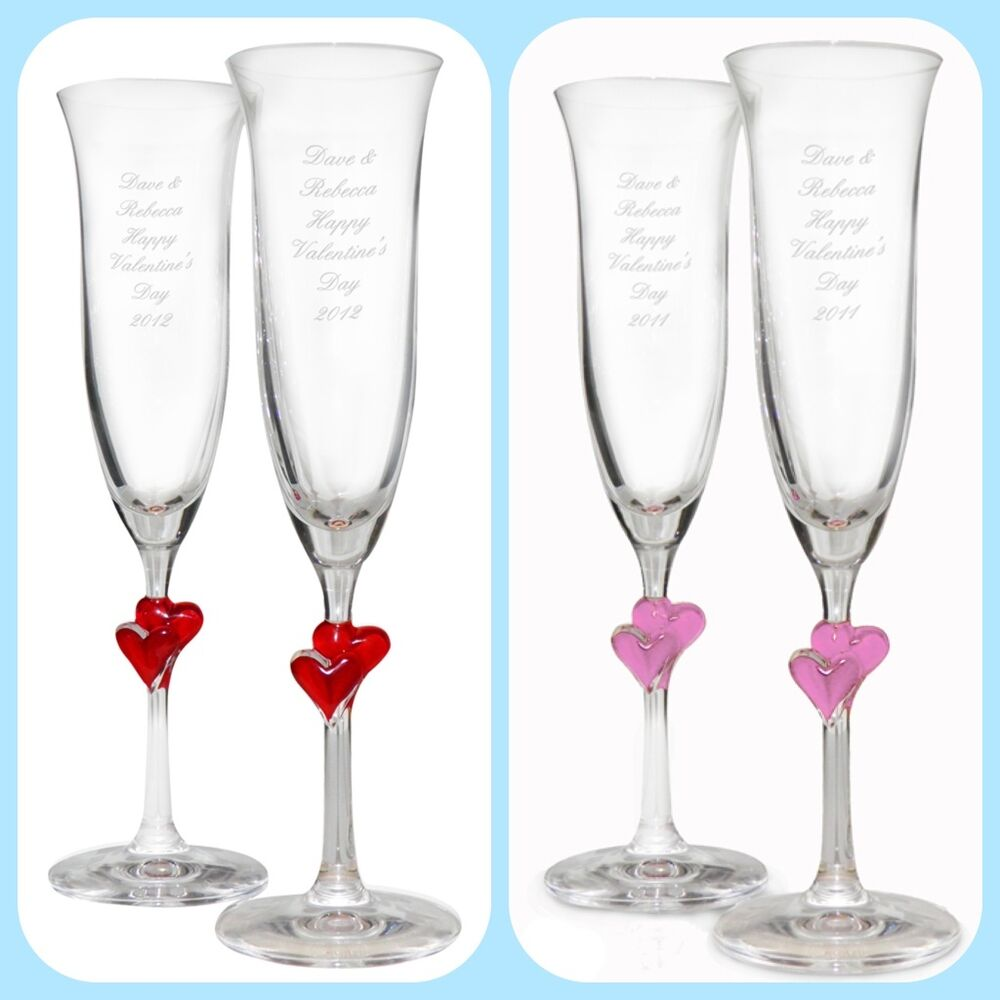 Personalised champagne glasses unique wedding anniversary valentines gift idea ebay - Unusual champagne flutes ...