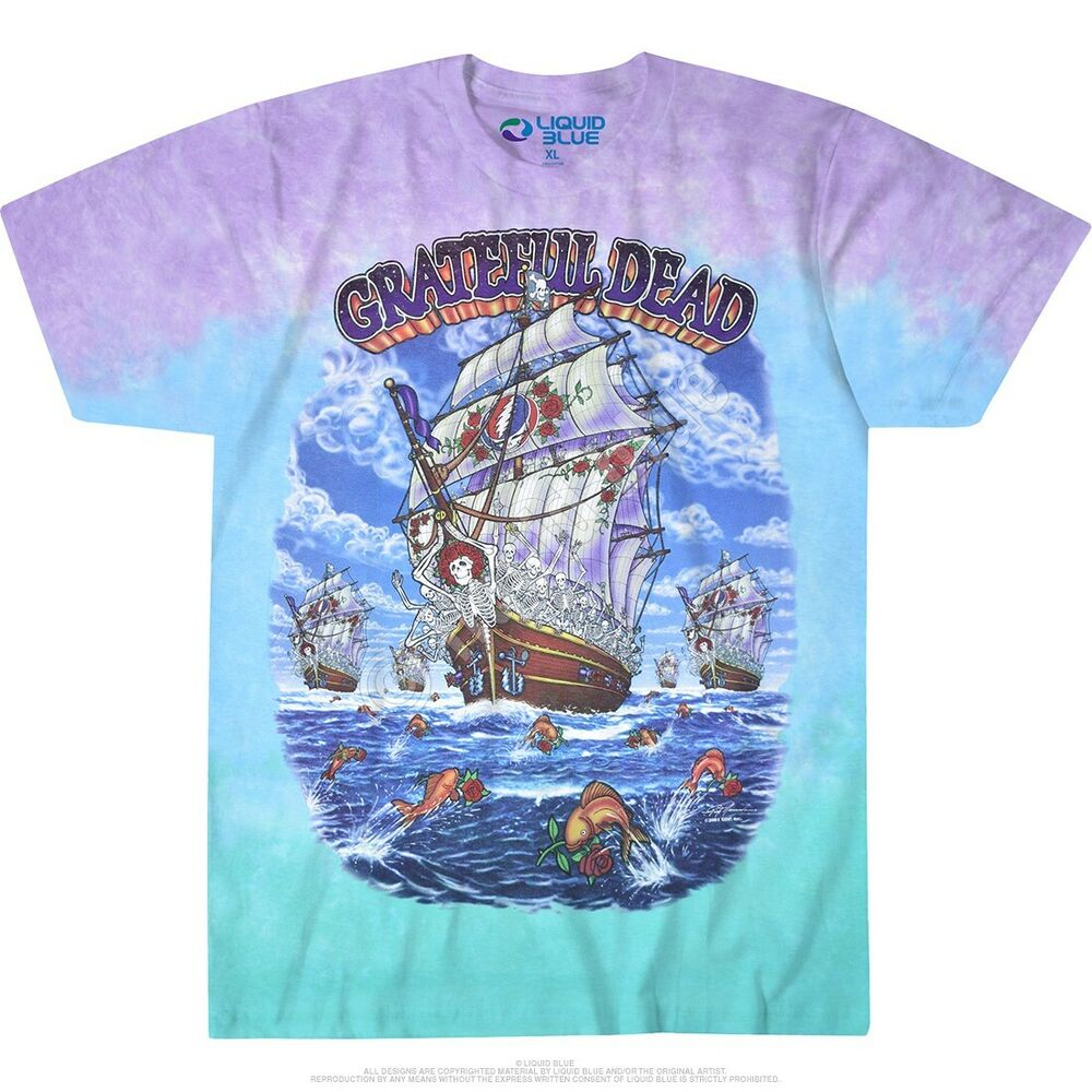 New grateful dead ship of fools tie dye t shirt ebay for Usps t shirt shipping