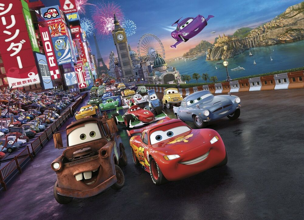 Wall mural photo wallpaper cars 2 disney for kids nursery decoration pixar ebay - Disney pixar cars wall mural ...