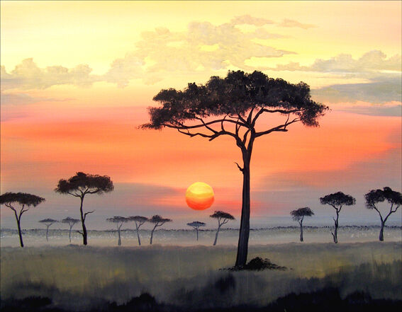 african sunset images watercolor driftwood