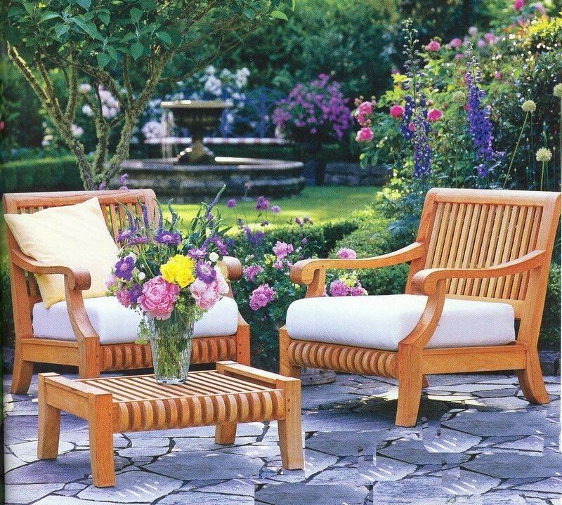3 pc teak wood garden outdoor patio lounge chair ottoman pool set giva deck ebay. Black Bedroom Furniture Sets. Home Design Ideas