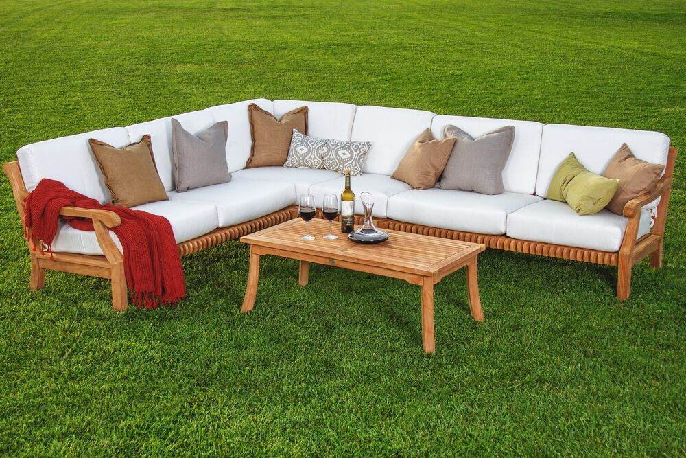5 Pc Sectional Sofa Set Teakwood Teak Wood Garden Indoor