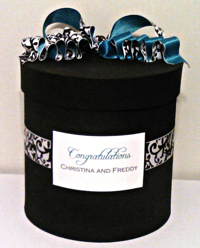 Wedding Gift Card Box Canada : Black/White Damask Wedding /Anniversary Round Card Box with Accent ...