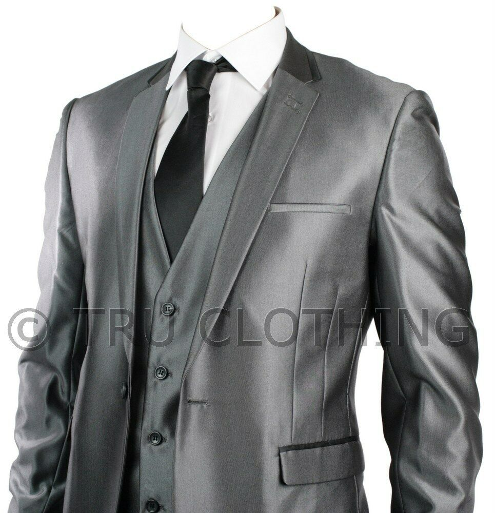 Mens Slim Fit Suit Shiny Silver Grey Black Trim 3 Piece Work
