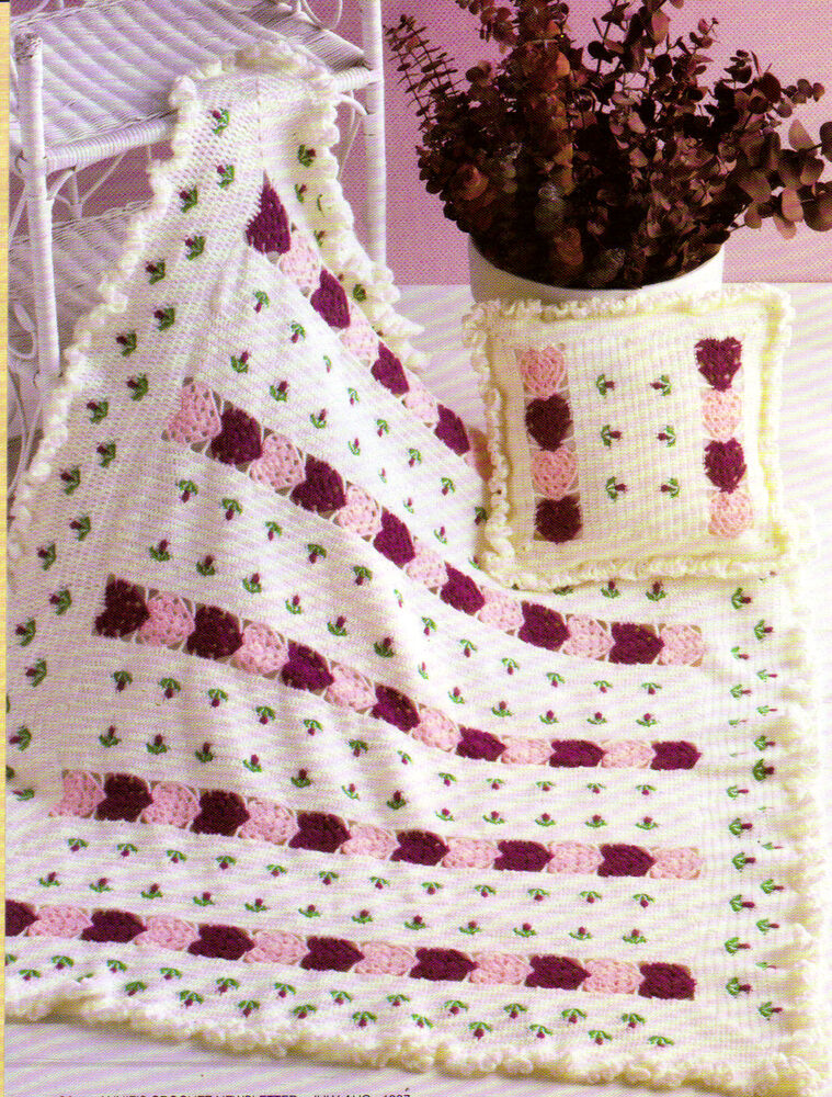 Crochet Afghan Patterns Hearts : VALENTINE Hearts & Flowers Baby Afghan & Pillow/Crochet ...