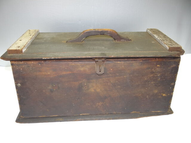 Vintage used old wood wooden military tool box carrying for Uses for wooden boxes