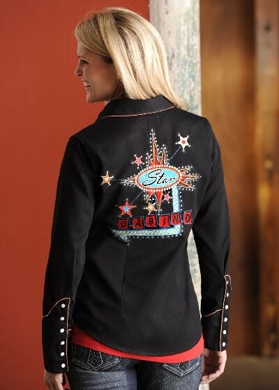 Ladies western gambling poker shirt panhandle embroidered