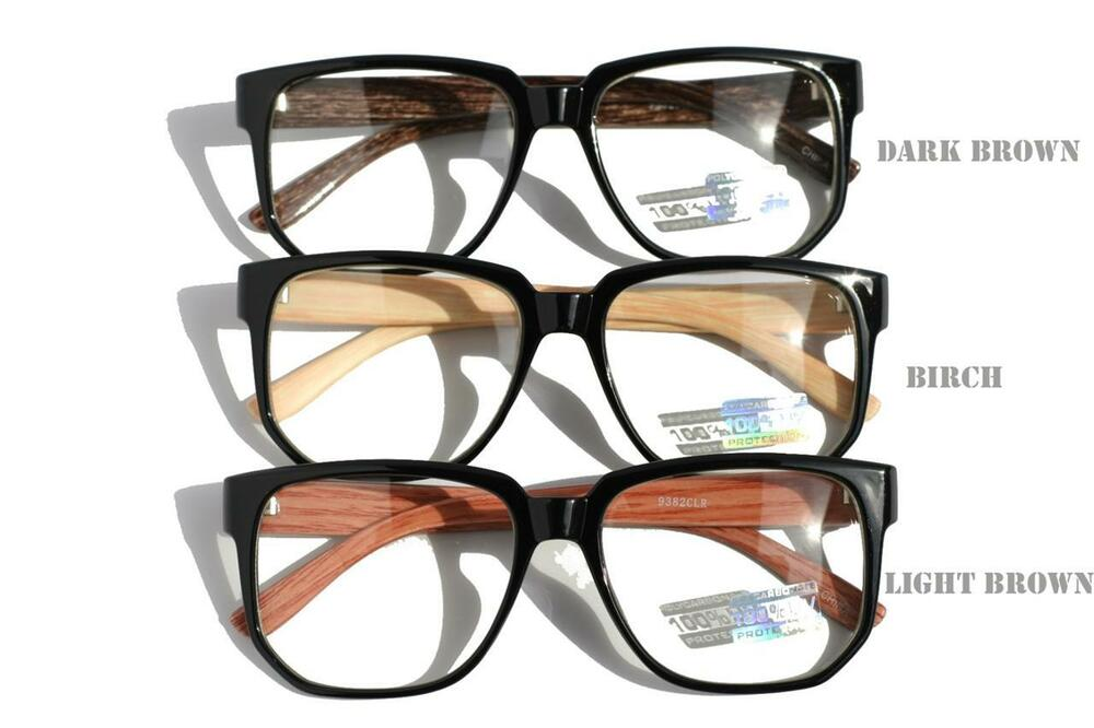 large round brown wood frame clear lens sun glasses optical rx eyeglasses nerd ebay