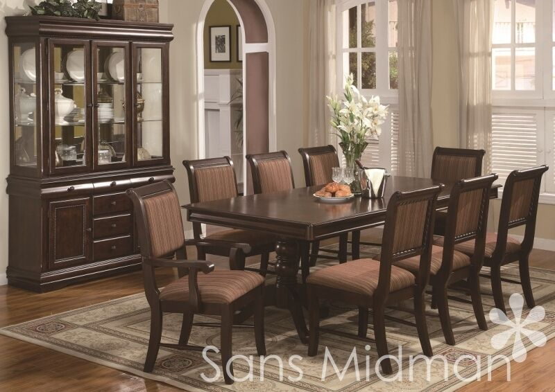 8 piece bordeaux formal dining room set table 6 chairs for Traditional dining table for 8