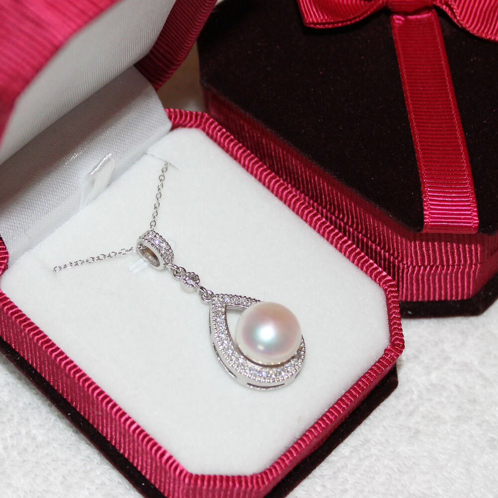 White Pearl Pendant Necklace: Genuine STERLING SILVER Huge White Pearl Pendant Necklace
