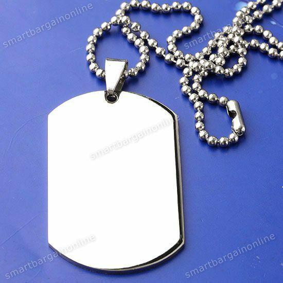 Zodiac Dog Tag Stainless Steel Pendant Necklace: New Military Dog Tag Mens Stainless Steel Pendant Ball