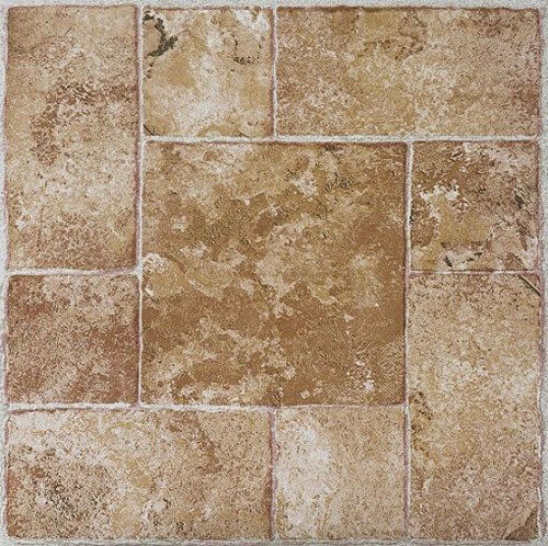 beige terracotta stone self stick adhesive vinyl floor tiles 100 pcs 12 x 12 ebay. Black Bedroom Furniture Sets. Home Design Ideas