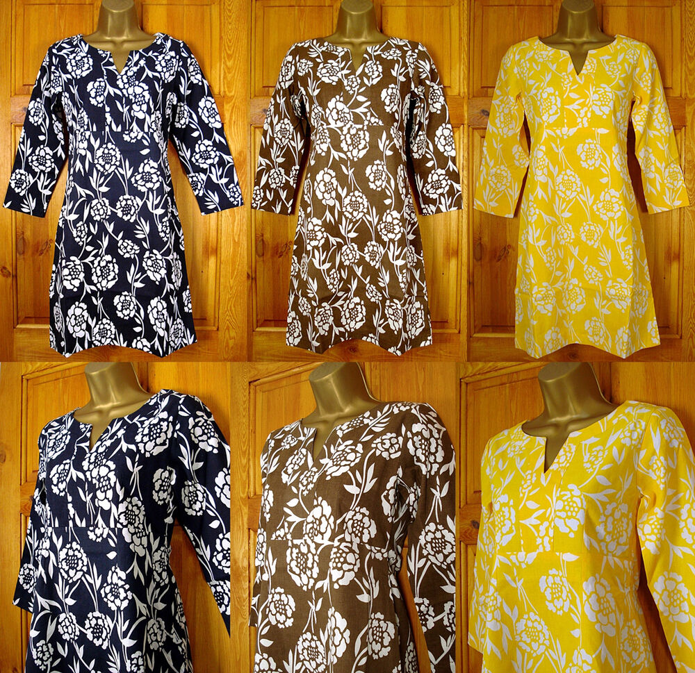 New ex boden navy blue brown yellow floral tunic dress for Boden yellow