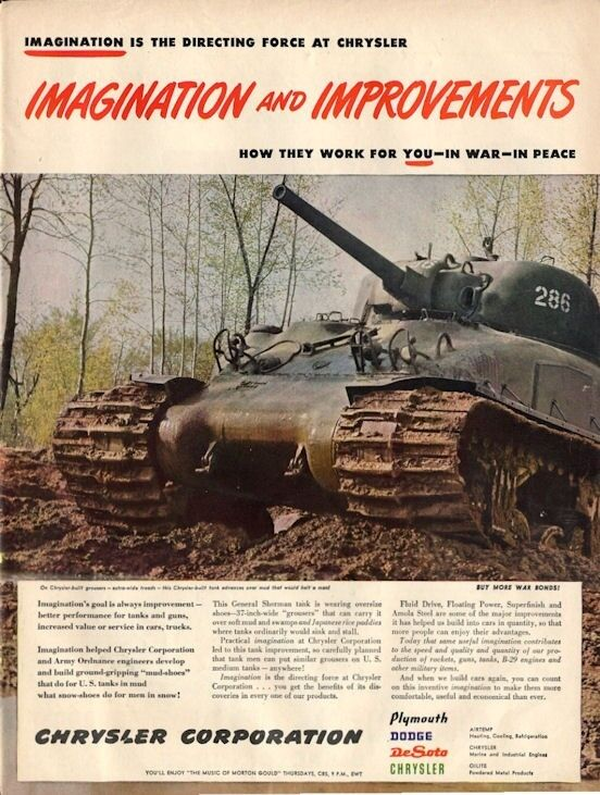 1960 Chrysler Sherman Tank With Grouser Treads Print Ad Ebay