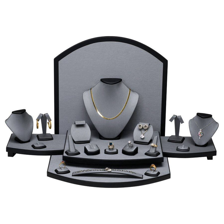 Lots 26 Pcs Grey Leather Display Set Showcase Counter Top