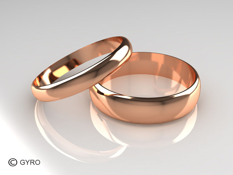 Rose Gold His and Hers set of Wedding Rings D Shaped Band Polished finish 3 5
