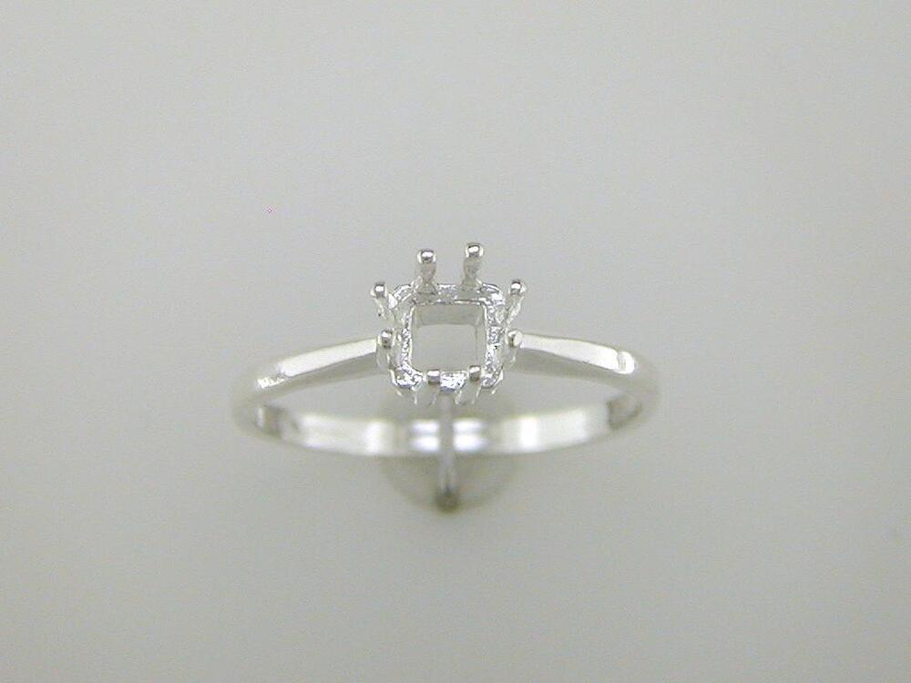 princess cut 8 prong solitaire ring setting sterling