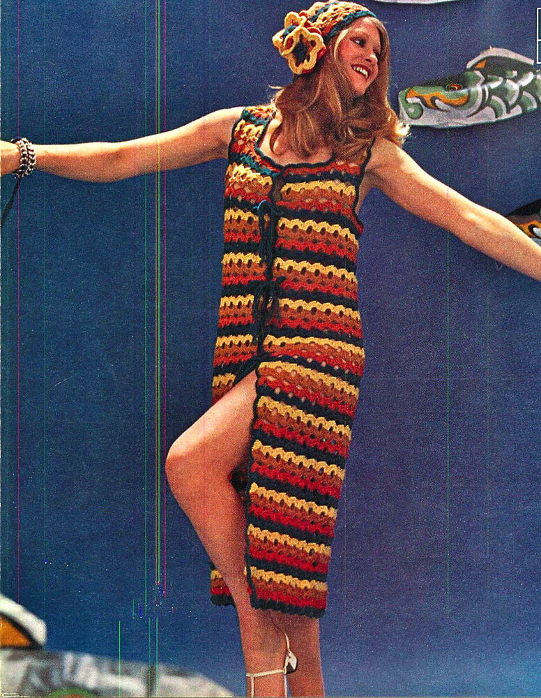 Vintage Crochet Pattern 1960s Hippy Flower Hat Amp Long