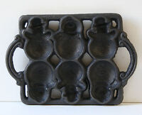 Cast Iron SNOWMAN Christmas/Holiday Baking Pan Muffin Mold NEW