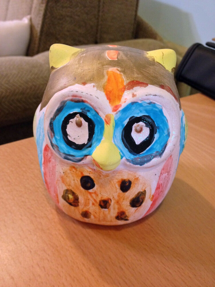Owl pottery ceramic hand painted arts and crafts for Arts and crafts pottery makers