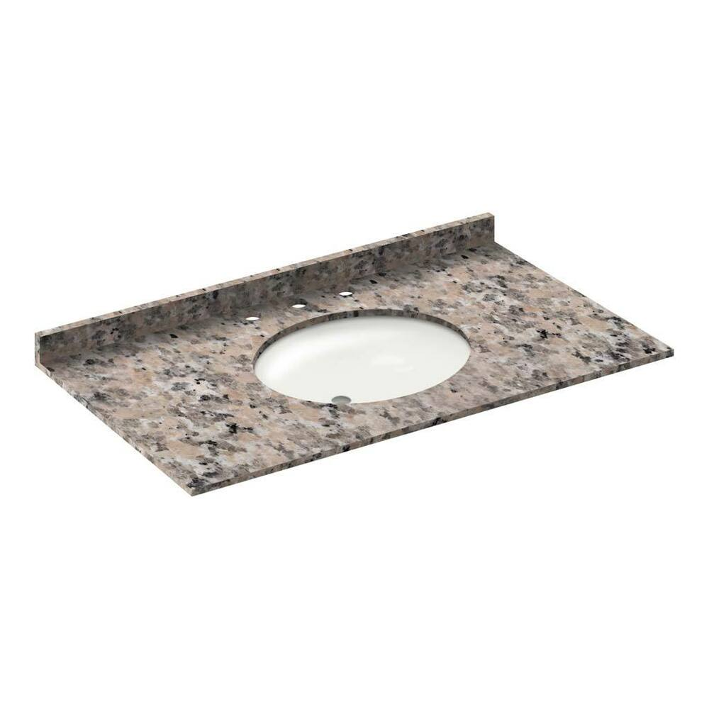 43 In Granite Vanity Tops With Sink 8 In Spread Burlywood