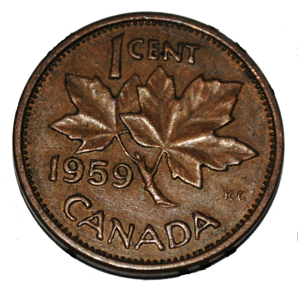 Canada 1959 1 cent copper one canadian penny coin ebay for One penny homes