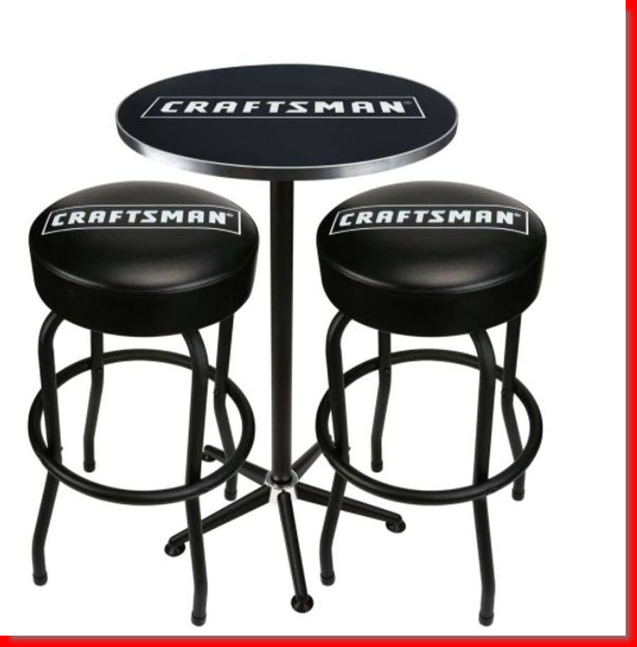blk white round table and 2 chairs stool garage pub bar room kitchen