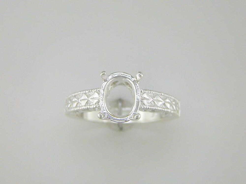 oval engraved shank ring setting ring setting sterling
