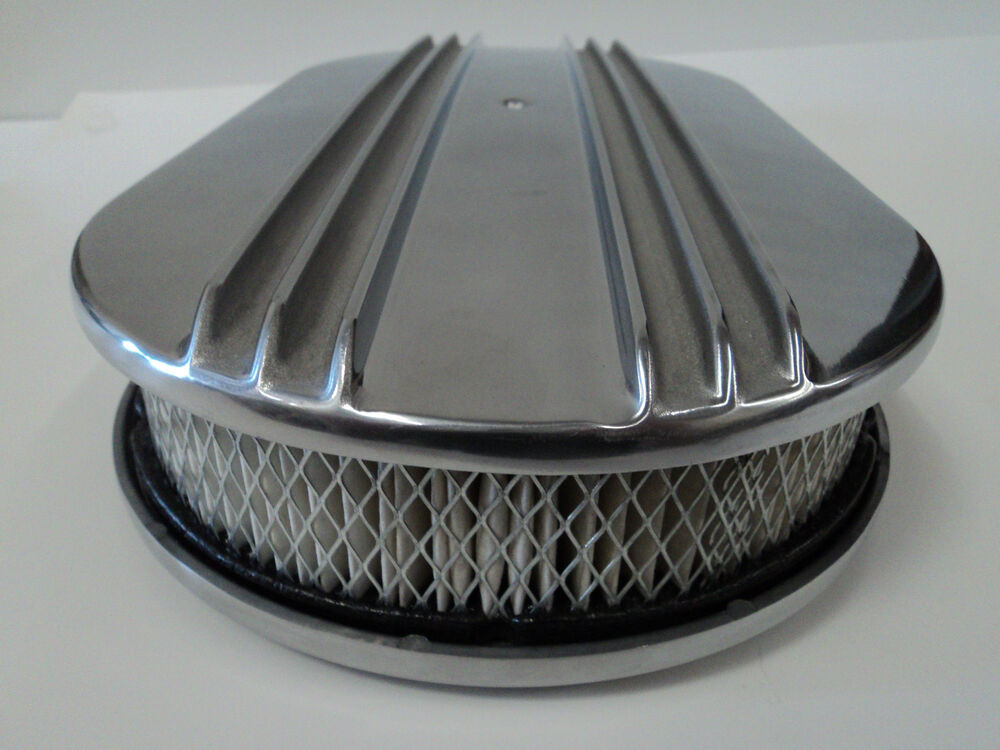Finned Air Cleaner : Quot oval half finned polished aluminum classic nostalgia
