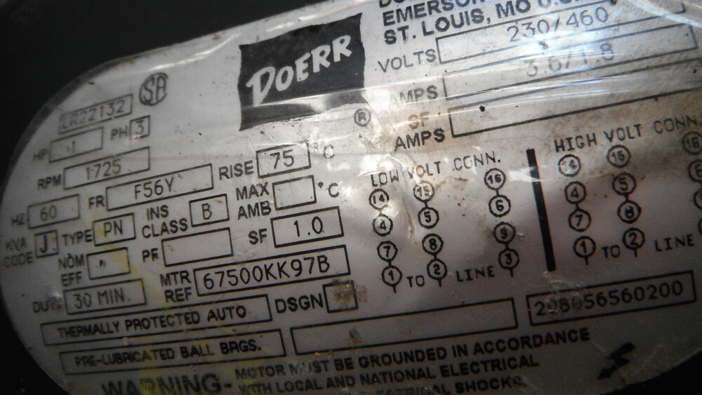 Doerr Electric Motor Lr22132  3 6  1 8 Amps 230  460v Hz 60